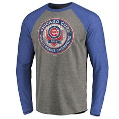44380131 Men's Chicago Cubs 2016 World Series Champions Tri-Blend Raglan T-SHIRT 3X  new