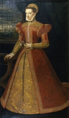 1574-55 Mary Stuart by Federico Zuccari (or Zuccaro). Need to research this further. Ah! Having done so, this is a portrait awaiting a better attribution. It's not Mary Queen of Scots and it's not Elizabeth.