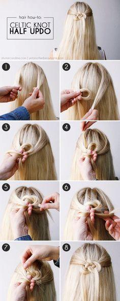 Celtic Knot Half Updo ||| Half up Half Down Hairstyles ||| Updo Hairstyles ||| Hairstyles for women |||35 Greek Goddess Half-up Half-Down Hairstyles