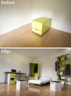"""The """"Casulo"""" can carry the furniture of an entire room and it can be assembled in under 10 minutes with no external tools and zero wastage (even the external cover of the box is used). Small Apartment Furniture, Space Saving Furniture, Furniture Ideas, First Apartment, Apartment Therapy, Box Bedroom, Transforming Furniture, Home Goods, House Design"""