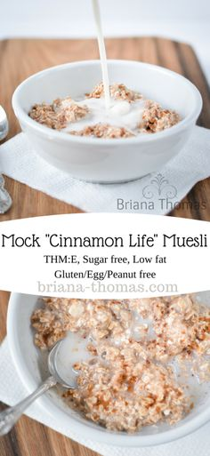 "This healthy mock ""Cinnamon Life"" muesli is a great refreshing and simple breakfast option for the Trim Healthy Mama (it's an E). It's sugar free, low fat, and gluten/egg/peanut free. Trim Healthy Mama Diet, Trim Healthy Recipes, Sugar Free Recipes, Low Carb Recipes, Breakfast Options, Low Carb Breakfast, Breakfast Recipes, Snack Recipes, Breakfast Cereal"