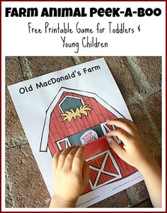 Farm Animal Peek-a-boo Free Printables and use instructions #free #ece #education
