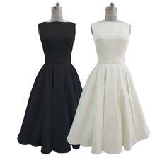 Audrey Hepburn high quality black satin boat neck dress with belt,inspired full dress,retro ivory wedding dress bridesmaid dress 0065 on Etsy, $50.00 favorite so far.