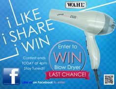 This is the last day to Enter to WIN a WAHL Blow Dryer, LIKE us or SHARE us to Enter, the more you share the better chances you have of WINNING. so good luck and stay tuned we will announce our winner today at 4:00pm PST https://www.facebook.com/salonca