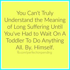 You Can't Truly Understand the Meaning of Long Suffering Until You've Had to Wait on a Toddler to Do Anything All. By. Himself. SO True! Funny!