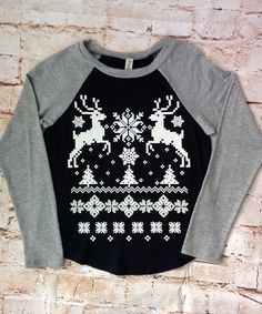 Reindeer Sweater Print Raglan Tee (Youth) sizes 4-12 Girls available at RoseGoldVintage.com