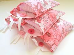 invitations in little pillow cases  ~   Slumber Party Invitations  ~  The Vintage Sheet Blog