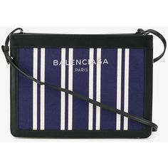 Balenciaga striped cross-body bag (£485) ❤ liked on Polyvore featuring bags, handbags, shoulder bags, leather cross body purse, blue shoulder bag, crossbody shoulder bag, leather crossbody purse and leather cross body handbags