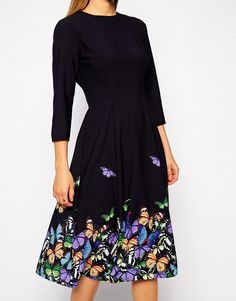 Image 3 ofASOS TALL Border Floral Print Pencil Dress