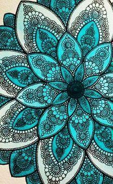 Teal, black and white mandala Mandala Art, Mandalas Painting, Mandala Drawing, Flower Mandala, Mandala Pattern, Dot Painting, Wallpaper Images Hd, Teal Wallpaper, Wallpaper Backgrounds
