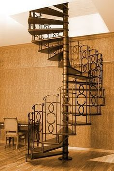 Spiral stair with circle design in balustrade