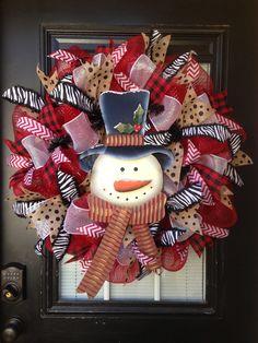 Snowman wreath by Glitzy Wreaths Www.facebook.com/glitzywreaths