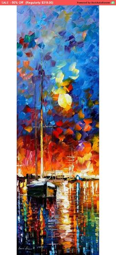 Nautical - Burning Sky 2 — Sea Canvas Oil Painting By Leonid Afremov. Seascape Wall Art, Ocean Wall Decor Sky Artwork, Size X Inches Oil Painting Texture, Texture Art, Oil Painting On Canvas, Painting & Drawing, Knife Painting, Illustration Art, Illustrations, Oil Painting Reproductions, Love Art