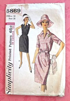 Simplicity 5869  1960s Womens Dress and Hat Pattern by Fragolina, $7.50