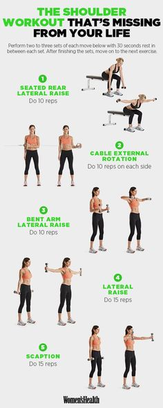 Shoulder Exercises That Will Sculpt Your Arms Like Crazy Do this shoulder workout twice a week on nonconsecutive days!Do this shoulder workout twice a week on nonconsecutive days! Fitness Hacks, Fitness Workouts, At Home Workouts, Fitness Motivation, Health Fitness, Women's Health, Yoga Fitness, Planet Fitness Workout Plan, Fitness Diet