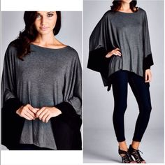 COLORBLOCK Kimono Colorblock fabulous one size fits most kimono with raw edge details throughout hemline also available grey combo . Please comment for personal listing. Will fit XS- XXL Vivacouture Sweaters