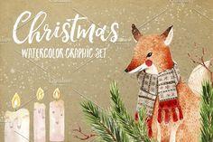 Christmas Watercolor Set by Maria Sem Watercolors on @creativemarket