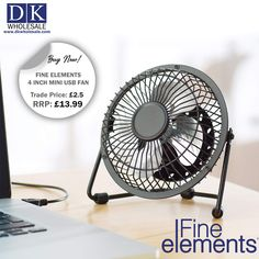 The Fine Elements 4-inch desk fan is powered by a USB. The fan is easily transported so ideal to take into an office or keep on a desk at home. The breeze is consistent and cool thanks to the 2.5W motor. The fan is easy to use and is durable and sturdy due to its trapezia base. The four aluminum blades deliver airflow around your office space. Maximize your profit! FINE ELEMENTS 4 INCH MINI USB FAN in wholesale and visit our e-store www.dkwholesale.com. Domestic Appliances, Desk Fan, Breeze, Food Processor Recipes, Usb, Space, Mini, House Appliances, Floor Space