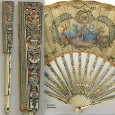 Exquisite Antique French Fan with Gold and Silver Foil