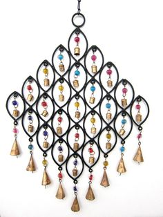 Cast Iron Wind Chimes 34 Copper Mongolian Bells Glass Beads Home Garden Peaceful #CiscoTraders