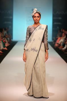 handwoven jaamdani motif linen Sari