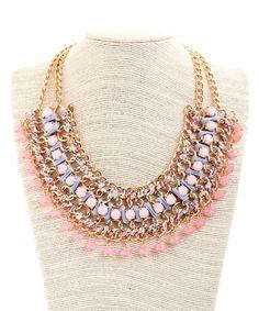 Abigail Summer Splash Stament Necklace - Pink/Blue