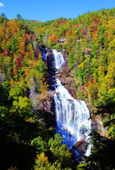 Upper Whitewater Falls with fall color in North Carolina mountains - #waterfall in Nantahala National Forest