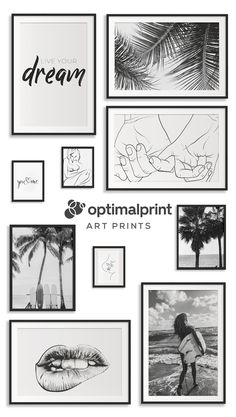 Black And White Wall Art, Black And White Aesthetic, Black And White Pictures, Wall Prints, Framed Art Prints, Bedroom Prints Wall, Room Ideas Bedroom, Diy Bedroom Decor, Frames On Wall
