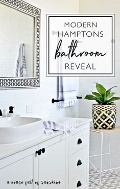 room reveal time heres some modern hamptons bathroom inspiration with gorgeous patterned floor tiles a classic black and white palette and some graphic modern touches totally do able hamptons styl - The world's most private search engine Bathroom Floor Tiles, Bathroom Black, Modern Bathroom, Bathroom Interior, Tile Floor, Palette, Diy House Projects, Bathroom Styling, Diy On A Budget