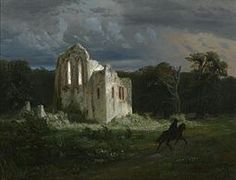 Ruins in the moonlit landscape, 1849 by Arnold Böcklin