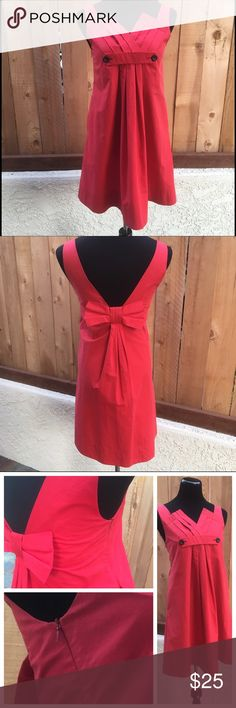 "Red Dress Red dress is 16.75"" from pit to pit and 34"" from shoulder seam to bottom of dress. Large bow in the back and side zipper. NWT Excellent new condition wth NO damage. Morava Dresses Midi"