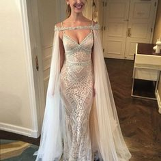 Dignified Sheath Wedding Evening Dress - Beaded Mermaid Sweep Train Lace Poncho