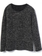 Black Contrast Leather Trims Long Sleeve Sweater 0.00