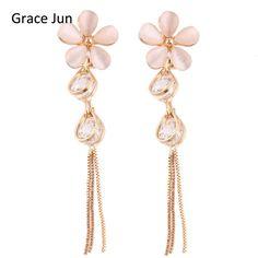 Grace Jun Top Quality 5 Leaves Flower Shape Cubic Zircon Opal Water Drop Long Clip on Earrings Without Piercing for Women Gift //Price: $US $4.83 & FREE Shipping //     #hashtag4