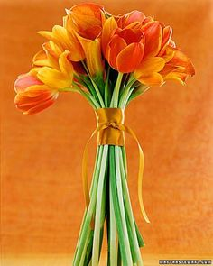 Long-stemmed tulips and calla lilies in shades of orange and tangerine need no more than a satin ribbon to bind them together.