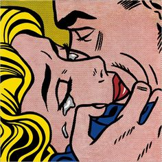 "Roy Lichtenstein's ""Kiss V"" (1964) is an interpretation of a comic book illustration enlarging the emotional embrace to the point of iconic impact."