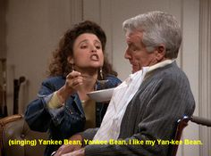 Elaine feeds Yankee Bean soup to Owen, 'The Alternate Side'