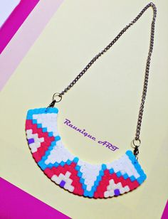 A handmade necklace made of hama beads :) You can see more & buy some on my facebook Belly Button by Izabela Raunik page :D