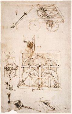 Automobile, c.1480 - Leonardo da Vinci Automobile Leonardo da Vinci Date: c.1480; Milan, Italy Style: Early Renaissance Genre: design Media: ink, paper Dimensions: 27 x 20 cm Location: Biblioteca Ambrosiana, Milan, Italy