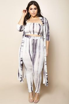 DETAILS Lose yourself in the stunning folds of this plus size leggings and cardigan set. Features an open front, floor-length cardigan, strapless bralette, and Floor Length Cardigan, Strapless Bralette, Plus Size Leggings, Tye Dye, Size Clothing, Plus Size Outfits, 3 Piece, Big, Clothes