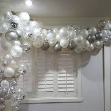 Image result for organic white gold silver balloon arch