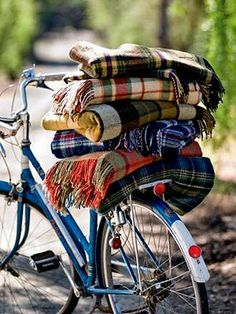 While plaid wool blankets scream rustic woodsy log cabin once you pile them on the back of an old Schwinn they seem to take on a country cottage feel