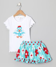 Take a look at this Turquoise Tee & Skirt - Toddler & Girls by Mighty Stitches on #zulily today!