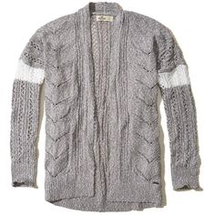 Hollister Open Stitch Slouchy Cardigan (2.355 RUB) via Polyvore featuring  tops 353f921d6