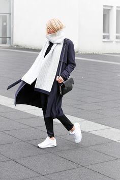 RED REIDING HOOD: My top 10 fashion blogs Joyce Croonen MyDubio Dutch Scandinavian Style blogger minimalism extra long scarf slouchy pants white Nike Air Max sneakers model off duty streetstyle
