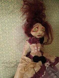 Gothic Vampire Bride Art Doll sad creepy OOAK Victorian Goth doll Madrona RESERVED