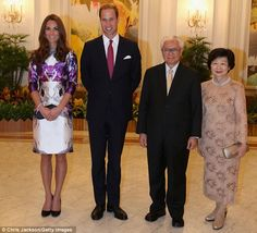 The Duchess and Prince William pose with the President of Singapore Tony Tan and his wife Mary at The Istana on the first day of their Diamond Jubilee tour. September 11, 2012