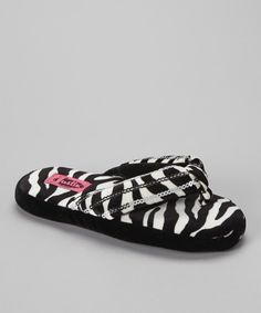 Take a look at this Black & White Zebra Sequin Flip-Flop Slipper - Women on zulily today!