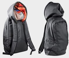 """Have you ever thought, """"I'm wearing this backpack AND a hoodie and I wish there was a better way?"""" Now there is.The Puma Urban Mobility Backpack features a large hood (with colorful inner lining) on top and the sack itself features a two-way zip front compartment, a padded laptop sleeve with hook and loop closure, and multiple interior pockets."""