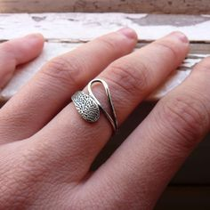 Gotas ring with texture Sterling silver Made to by aforfebre